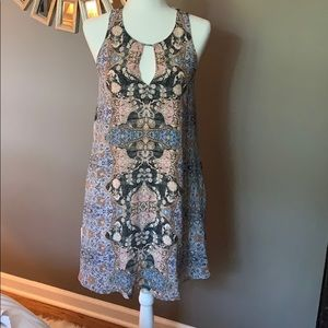 Lavender Brown multi colored patterned dress